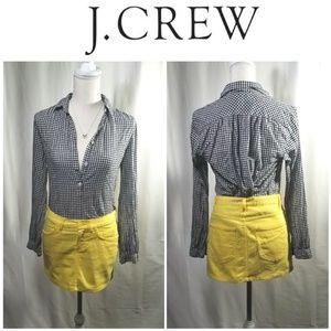 Jcrew Cotton Gingham Long Sleeve Collar Henley